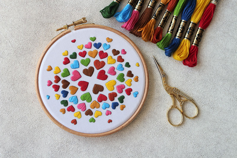 Satin Stitch Hearts