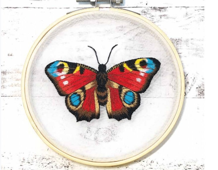 Embroider a Peacock Butterfly